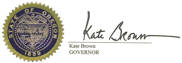 Oregon state seal with governors signature